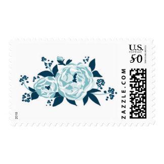Peonies - Bloom, Midnight Blue & Sea Mist Postage