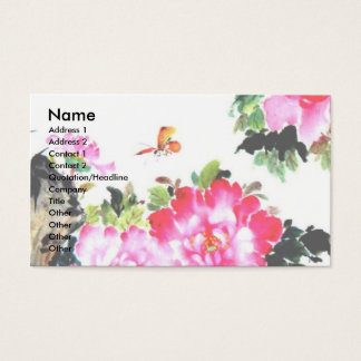 Peonies & Butterflies/Chinese Painting Design Business Card