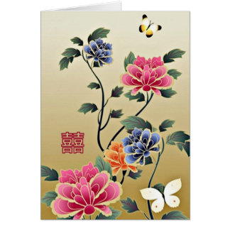 Peonies & Butterflies Double Happiness Wedding Card