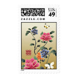 Peonies & Butterflies Double Happiness Wedding Postage Stamps