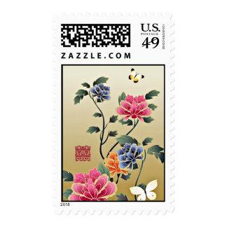 Peonies & Butterflies Double Happiness Wedding Postage Stamp