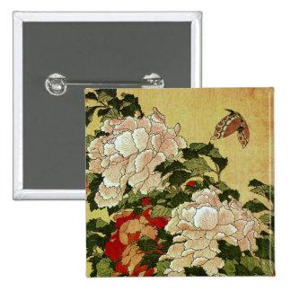 Peonies & Butterflies Hokusai Japanese Fine Art Button
