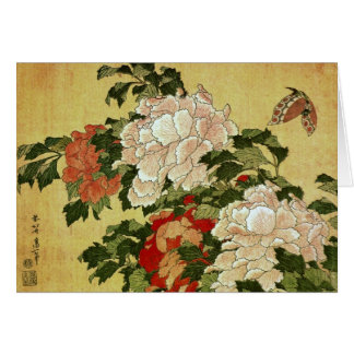 Peonies & Butterflies Hokusai Japanese Fine Art Card