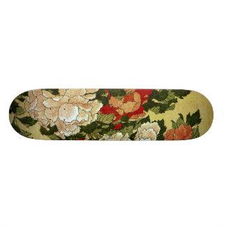 Peonies & Butterflies Hokusai Japanese Fine Art Skateboard Deck
