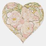 Peonies by Alphonse Mucha Heart Sticker