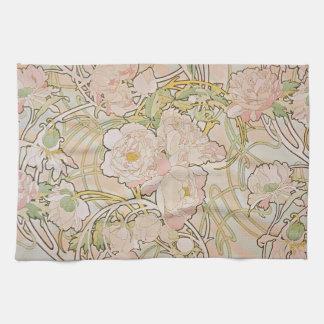 Peonies by Alphonse Mucha Hand Towel
