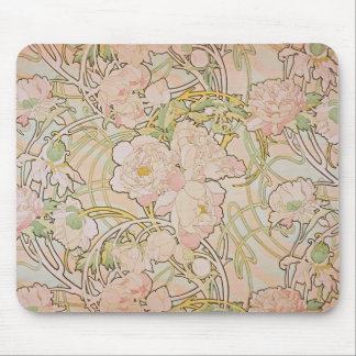 Peonies by Alphonse Mucha Mouse Pad