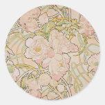 Peonies by Alphonse Mucha Round Sticker