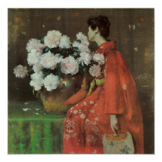 Peonies by William Merritt Chase Poster