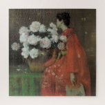 "Peonies by William Merritt Chase, Vintage Fine Art Jigsaw Puzzle<br><div class=""desc"">Peonies (1897) by William Merritt Chase is a vintage impressionism fine art painting featuring a woman dressed in a beautiful red kimono smelling a bouquet of blooming pale pink peony flowers. About the artist: William Merritt Chase (1849-1916) was an American Impressionism painter best known for his portrait paintings and landscape...</div>"