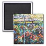Peonies, Claude Monet 1887 fresco, viejos, amo Imán Cuadrado