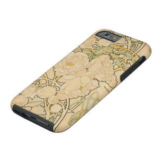 Peonies de Alfonso Mucha, arte Nouveau del vintage Funda Para iPhone 6 Tough