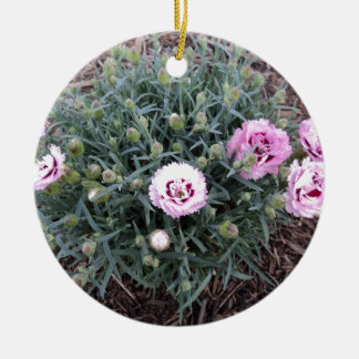 Peonies Double-Sided Ceramic Round Christmas Ornament