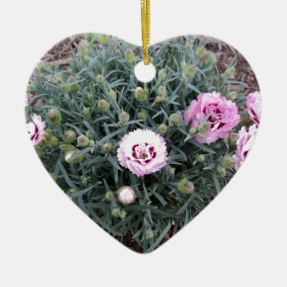 Peonies Double-Sided Heart Ceramic Christmas Ornament
