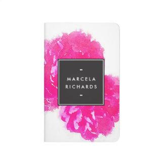 Peonies elegantes del rosa de la acuarela cuadernos grapados