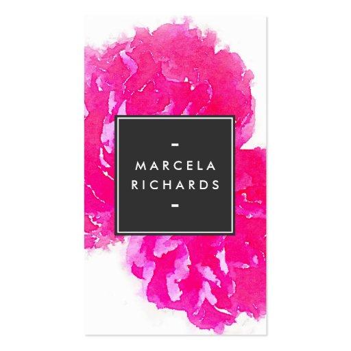 Peonies elegantes del rosa de la acuarela II Plantillas De Tarjetas De Visita