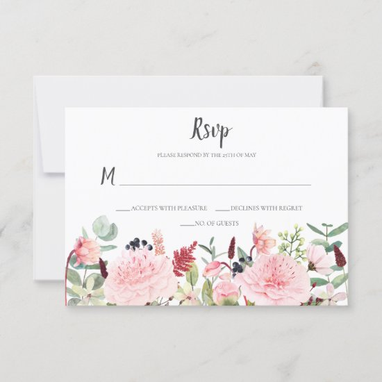 Peonies Eucalyptus Ferns Twigs Berries Pink Back RSVP Card
