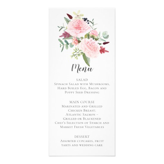 Peonies Eucalyptus Greenery Pink Back Wedding Menu