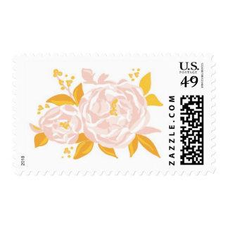 Peonies - floración, rosa, amarillo y naranja sello