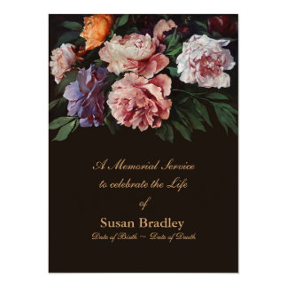 Peonies Floral Painting 2 Memorial Service Card
