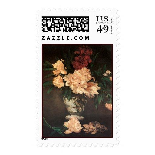 Peonies Flower Painting by Manet Postage
