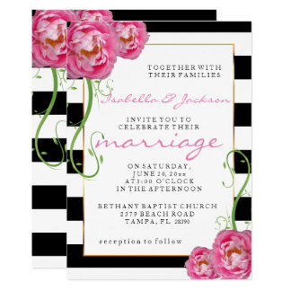 Peonies Flowers | Black & White Stripes Wedding Card