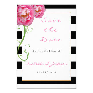 Peonies Flowers on Black and White Stripes Card