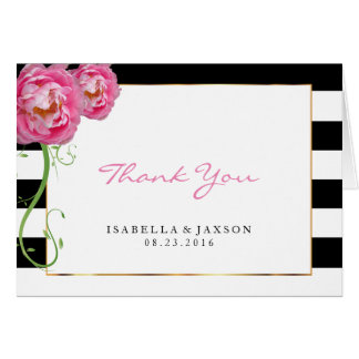 Peonies Flowers on Black and White - Thank You Card