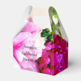Peonies hermosos que casan la caja del favor del caja para regalos