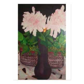 peonies in a vase postcard