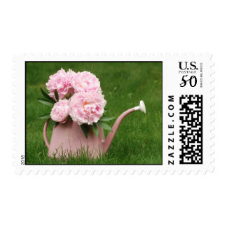 Peonies in a watering can postage