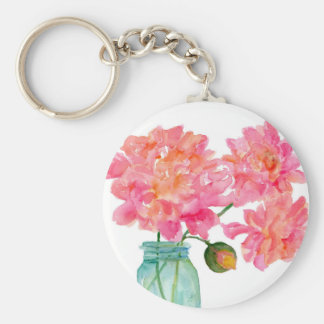 Peonies in aqua canning jar basic round button keychain