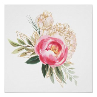 Peonies in Pink and Gold Watercolor Poster Print