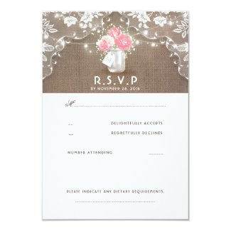 Peonies Mason Jar Rustic Wedding RSVP Cards