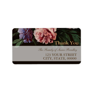 Peonies Painting 1 Family Thank You Address Label