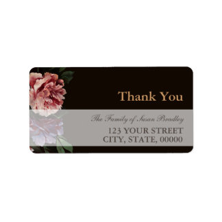 Peonies Painting Family Thank You Address Label