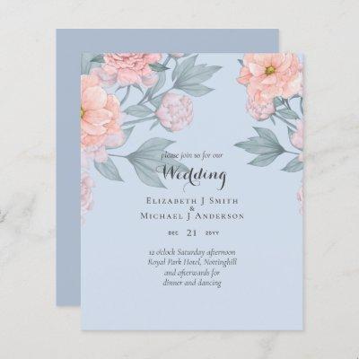 PEONIES Pink Sage Peach Wedding BUDGET