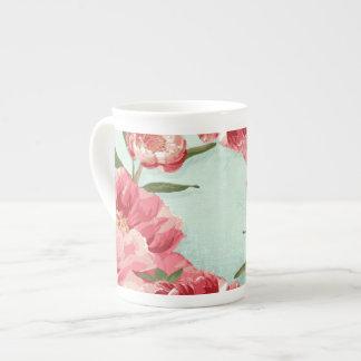 Peonies retros bonitos de la zaraza de la flor taza de porcelana