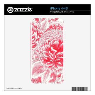Peonies rojos hermosos skins para iPhone 4