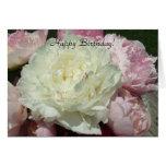 Peonies rosados blancos del feliz cumpleaños/coche tarjeta