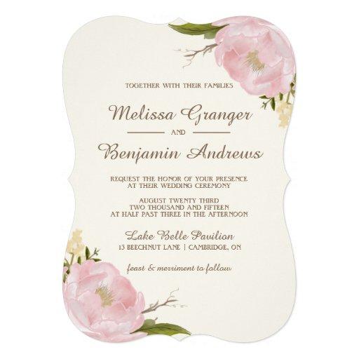 Peonies rosados del vintage que casan la comunicados personales