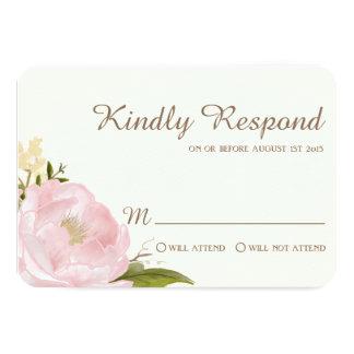 Peonies rosados del vintage que casan la tarjeta comunicados personales
