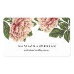 Peonies rosados del vintage tarjetas de visita