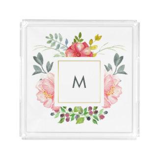Peonies rosados elegantes con el monograma bandeja cuadrada