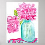 Peonies rosados en poster de enlatado del tarro