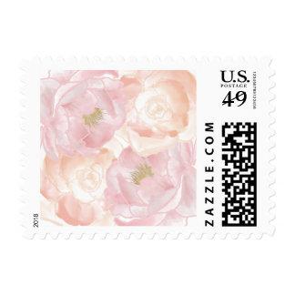 Peonies rosados románticos florales estampillas