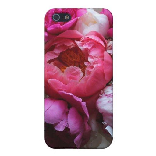 Peonies rosados y blancos en la floración - cubier iPhone 5 carcasas