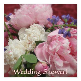 Peonies rosados y blancos invitación personalizada