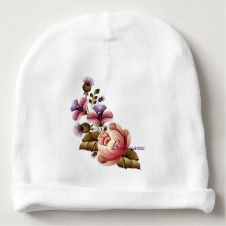 Peonies rosados y cardo púrpura personalizados gorrito para bebe