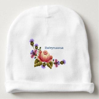 Peonies rosados y cardo púrpura Tole personalizado Gorrito Para Bebe